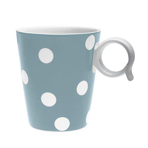 Bruno Evrard Mug à Pois Bleu Jean en Porcelaine 32cl - Lot de 4 - Freshness Dots