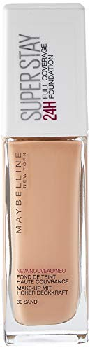 Maybelline New York Make Up, Super Stay 24h Make-Up, Flüssige, langanhaltende Foundation, Nr. 30 Sand, 30 ml