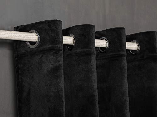 PimpamTex – Cortina Opaca Térmica Aislante Tacto Terciopelo, con 8 Ojales para Salón, Dormitorio y Habitación, Variedad de Colores, Cortinas Opacas Modelo Terciopelo – (140 x 280 cm, Negro)