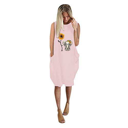 TWIFER Dresses for Women Casual Summer, Ladies Oversized Loose Dress Plus Size Sleeveless Printed Mini Dress with Pocket Pink