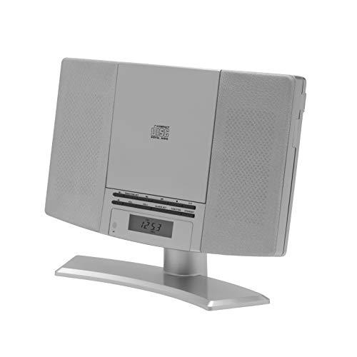 Denver Minicadena MC-5220 Silver con Reproductor de CD, Radio FM, Entrada AUX, Reloj y Alarma. Posibilidad de Colgar en la Pared. Color Plateado