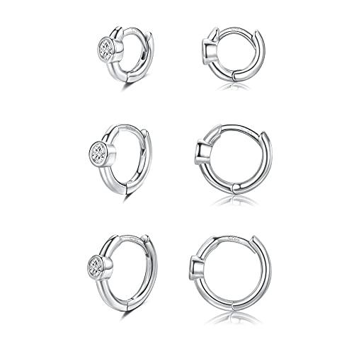 CERSLIMO Creolen Silber Damen, Klein Zirkonia Silber 925 Creolen Set Knorpel Schlafen Ohrringe Mini Set 6mm/8mm/10mm Herren