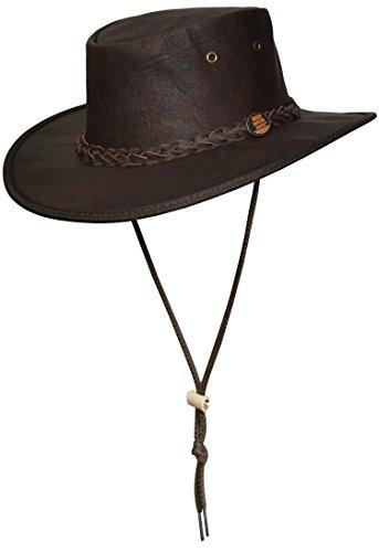 Barmah 1079 Red Rock Rugged Kangaroo Leather Hat with Chin Strap. Känguru Leder mit Kinnband