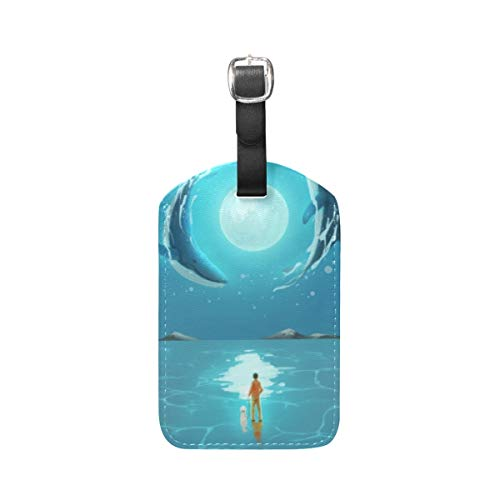 Blue Sea Moob Dolphin Shark Luggage Baggage Suitcase Tags Leather ID Label for Travel(2pcs)