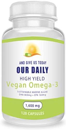 Our Daily Vites Plant Based Omega-3 Algal 120 Ct - Marine Vegan Algae Source of DHA & EPA for Eye Health , Heart Health and Optimal Wellness