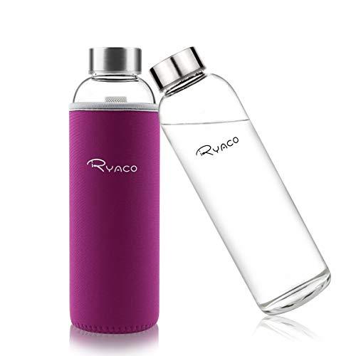 Ryaco Botella de Agua Cristal 550ml, Botella de Agua Reutilizable 18 oz, Sin BPA Antideslizante Protección Neopreno Llevar Manga y Cepillo de Esponja (550ml, Rojo violáceo)