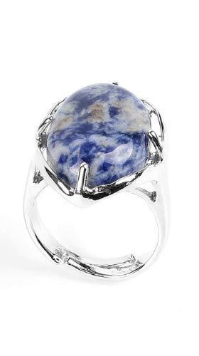 PIERRETOILES - Anello con pietra, protezione minerale e Acciaio inossidabile, 17, colore: blu, cod. 10092018