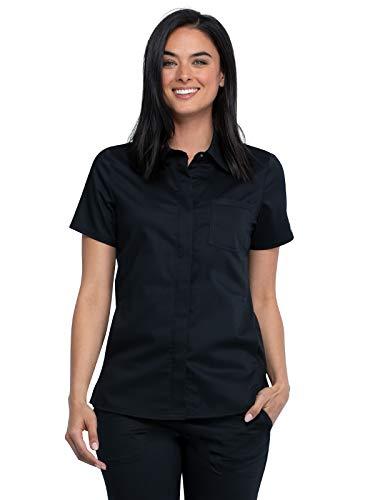 Workwear Revolution Women Scrubs Top Hidden Snap Front Collar WW669, XS, Black