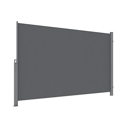 SogesHome Seitenmarkise Markise versenkbare Seitenmarkise versenkbar, externer Bildschirm Sichtschutz für Garten, Balkon, Terrasse (dunkelgrau), 300 x 160 cm, SH-MH038-316G