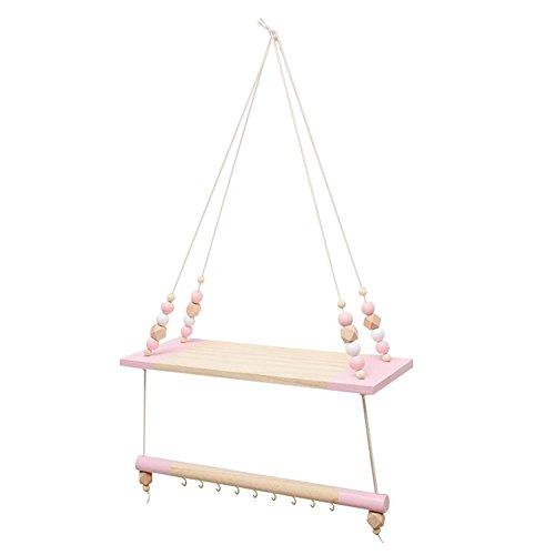 Estantería colgante de madera Swing Rope Floating para colgar en la pared, almacenamiento para niños, bebés, estilo nórdico, pared para velas de plantas, rosa