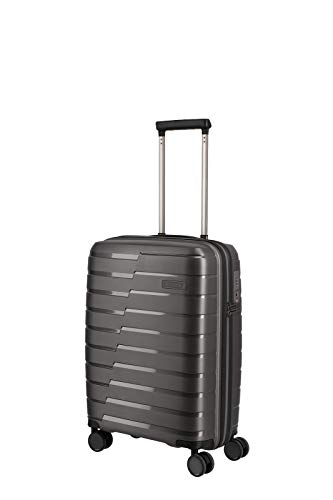 travelite 4-Rad Handgepäck Koffer mit TSA Schloss erfüllt IATA-Bordgepäckmaß, Gepäck Serie AIR BASE: Funktionaler Hartschalen Trolley im coolen Look, 075347-04, 55 cm, 37 Liter, anthrazit (grau)