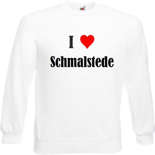 Reifen-Markt Sudadera con texto 'I Love Schmalstede para mujer, hombre y niños en los colores negro, blanco y azul con estampado Blanco XXL