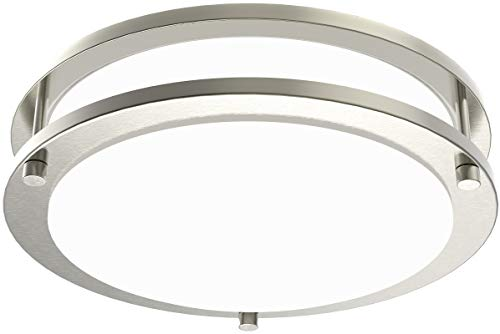 LE LED Flush Mount Ceiling Lights, 10 inch Brushed Nickel Ceiling Light Fixture Dimmable, 1200lm 16W (120W Equivalent) Ceiling Lamp for Kitchen, Bedroom, Laundry, Living Room Hallway, 4000K White