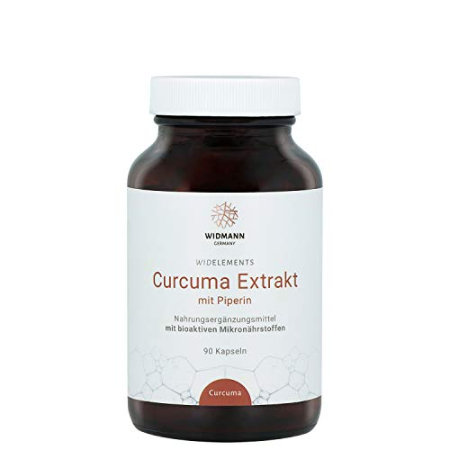 WIDELEMENTS - Curcuma Extrakt mit Piperin (90 Kapseln) - Kurkuma mit schwarzem Pfeffer - Antioxidans -100% pflanzlich - BIO-Qualität - Made in Germany