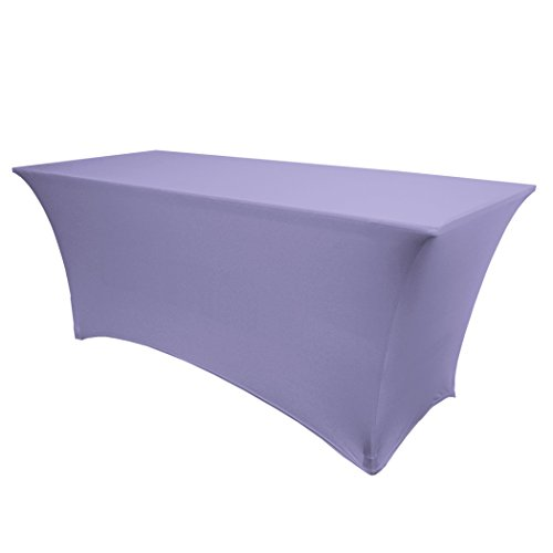 Ultimate Textile -10 Pack- 5 ft. Fitted Spandex Table Cover - for 24 x 60-Inch Banquet and Folding Rectangular Tables, Lilac Light Purple