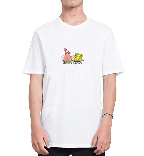 Spongebob and Patric Laughing Funny_CFS8044 Tshirt T-Shirt Shirt Men Männer Herren Men's, Shirts for Mens, Sports, Casual, Shirts for Mens, Sports, Casual, M Grey Men