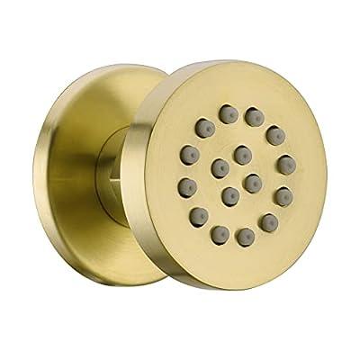 Solid Brass Body Spray Shower Jet - Round Massage Side Sprayer Spa System Shower Set Adjustable Wall Mounted, Brushed Gold Brass Finish