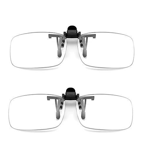 HHCC 2 STÜCKE Lesebrillenclip Transparente Linse & Brillenclip Tragbare Lesebrille umklappen +1.00 bis +3.00 Dioptrien Anti-Blaulicht-Brillen,+1.00