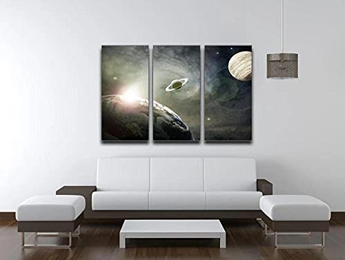 Impresión Lienzo Pared Arte Pintura Para Decoración Para El Hogar Pintura Impresión Sobre Lienzo Cuadro 3 Piezas Panel Pinturas Fotos Impresiones 50x70x3(Marco) Saturno Y Júpiter En Una Nube Cósmica
