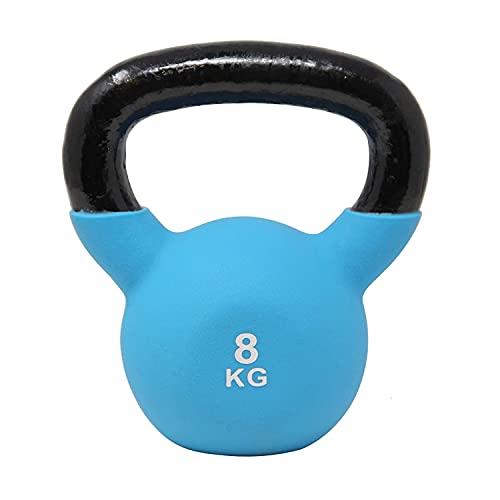 POWRX Kettlebell Hierro Fundido 8 kg - Pesa Rusa con Revestimiento de Neopreno + PDF Workout (Azul Oscuro)
