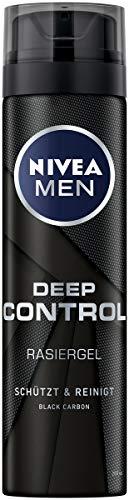NIVEA MEN Deep Control Rasiergel im 6er Pack (6 x 200 ml), Rasiergel für eine angenehme Rasur, Rasiergel für Herren mit Black Carbon