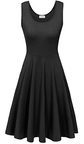 KorMei Damen Ärmelloses Beiläufiges Strandkleid Sommerkleid Tank Kleid Ausgestelltes Trägerkleid Knielang Schwarz L