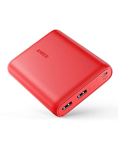Anker PowerCore 13000mAh - Banco de Carga, batería Externa, 2 Puertos 3A, Cargador portátil con PowerIQ y tecnología Voltage Boost para iPhone XS MAX, XR, XS, X, 8, 8Plus, 7, 6s, 6Plus (Rojo)