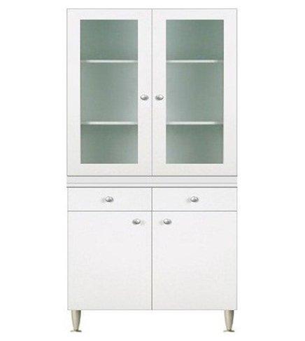 Keukenkast met vitrine 2 deuren, wit