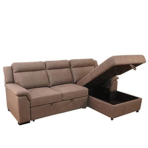 Tolalo 106 '' Sofá de forma de l cama de sofá cama, sofá cama de esquina retro con almacenamiento y cama de extracción, futón plegable sofá cama para espacio de vida compacto, apartamento, dormitorio,