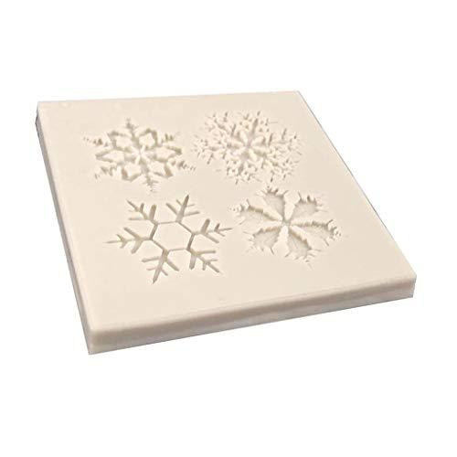 SDENSHI Molde de Fondant de Silicona de Copo de Nieve para Hornear Molde de Jabón de Caramelo Decorativo