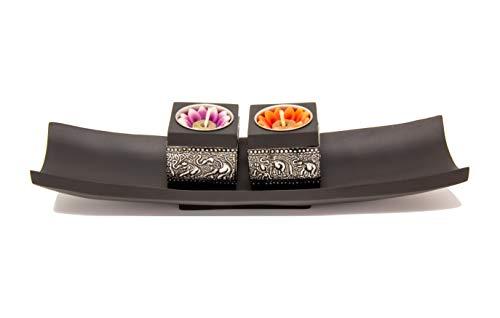 Thai Tantee® handgemachtes Teelichthalter Set mit Motiv, Thai Chang Jungle Boat, Tischdeko-Set mit Kerzenständer für 2 Teelichter, Asia-Deko aus nachhaltigen Materialien