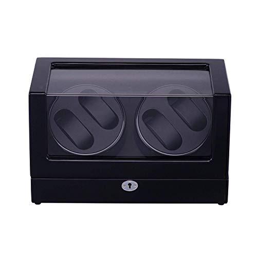 GLXLSBZ Enrolladores de Reloj, enrollador de Reloj con batería de 4 Relojes, enrollador de Reloj para Relojes automáticos Estuches de Relojes Cajas de Relojes enrolladores Display Storage Negro
