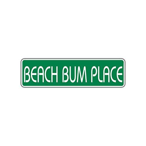 TammieLove Plaque de Rue en Aluminium avec Inscription « Beach Bum Place » 4 x 16 Pouces