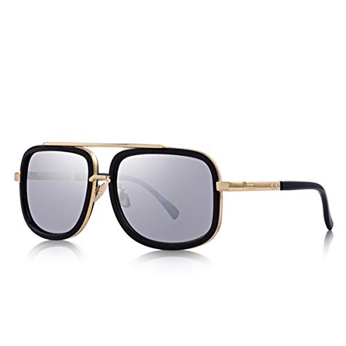 Hengtaichang Sunglasses Fashion Men Sunglasses Classic Women Brand Designer Metal Square Sun Glasses UV400 Protection S'662 C03 Silver