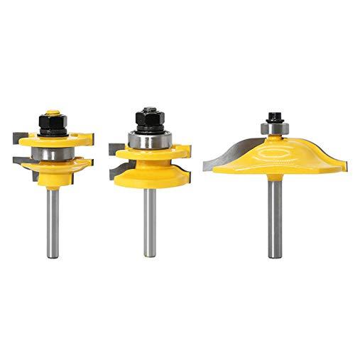 Domybest Holzfräser 6.35mm Schaft Zungenschaft Nutfräse Set, 45 Grad Lock Mitre Router Bit für Elektro Oberfräsen Zubehör Holzbearbeitungswerkzeuge