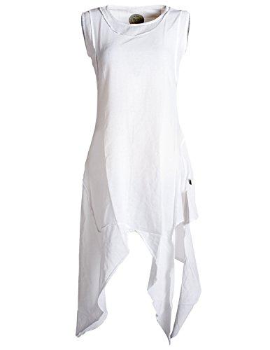 Vishes - Alternative Bekleidung - Asymmetrisches armloses Lagenlook Zipfelkleid weiß 38-40