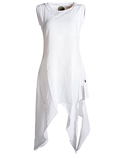 Vishes - Alternative Bekleidung - Asymmetrisches armloses Lagenlook Zipfelkleid weiß 48