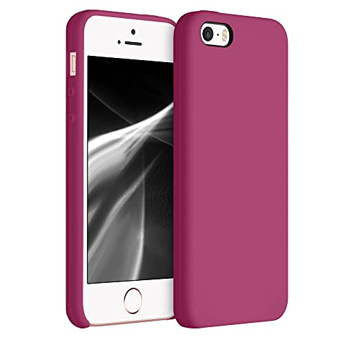 kwmobile Custodia Compatibile con Apple iPhone SE (1.Gen 2016) / 5 / 5S - Cover in Silicone TPU - Back Case per Smartphone - Protezione Gommata Rosso Lampone