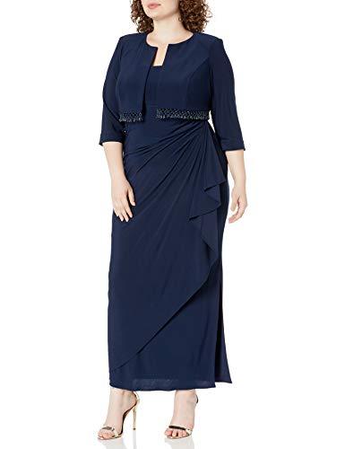 Alex Evenings Damen Plus-Size Lace Bolero Jacket Dress with Side Ruched Skirt Kleid für die Brautmutter, Marineblaue Perlenfransen, 22W