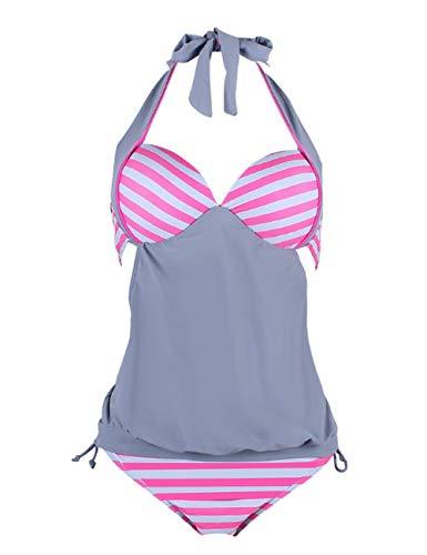 FeelinGirl Damen Sexy Bikini Set Tankini Push up Bademode Schwimmanzug Strand zweiteilig Streifenmuster XL Rosa