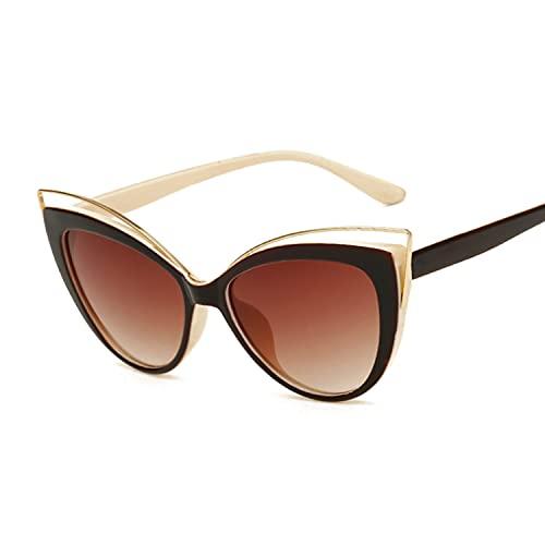 Gafas de Sol Ojo de Gato Mujeres Vendimia Moda Mariposa Espejo Gafas de Sol Femenino Retro Estilo de Verano Metal Luxury (Lenses Color : Brown Beige Legs)