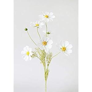 "Silk Flower Arrangements White Artificial Flowers Cosmos Wildflower - 3-4"" Blooms - Wedding, Event and Home Decor"