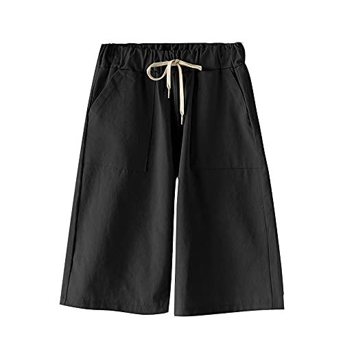 Pantalones cortos sólidos de algodón de las señoras de la parte inferior del tamaño grande flojo alta cintura elástica fajas