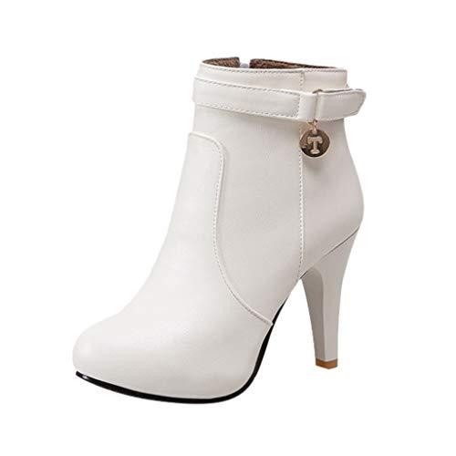 WUSIKY Stiefeletten Damen Bootsschuhe Boots Geschenk für Frauen Winter Side Zip Pump High Heel nackten Stiefel Stiletto Casual Booties