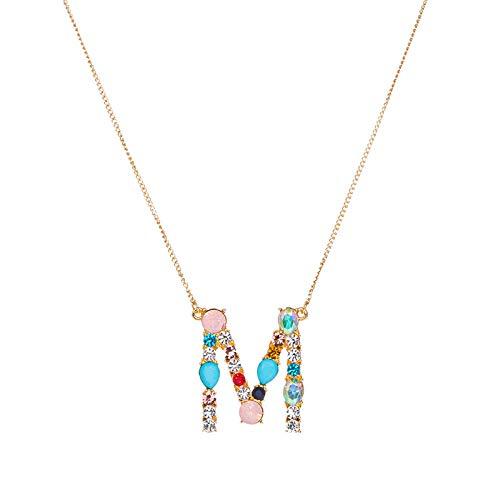 BGIUHFW halsketting met hanger, meerkleurig, initiaal, 26 letters, goud/zilver, micropavé, halsketting, initiaal, zirkonia, paar Nome-I_Silver_50 cm