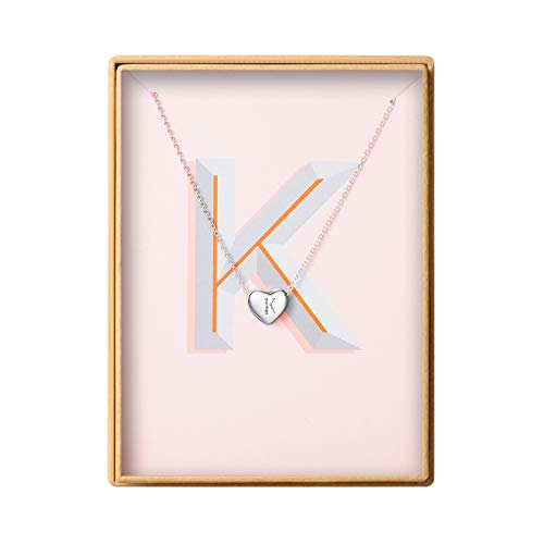 Dainty Heart Initial Necklace S925 Sterling Silver Letters K Alphabet Pendant Necklace Valentine's Day gift for Her