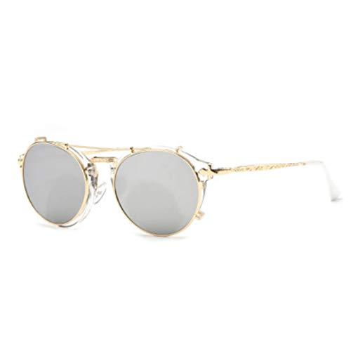 SHUHUI Gafas De Sol Redondas Retro De Doble Propósito con Espejo Liso para Mujer, Gafas De Sol De Metal Vintage para Hombre, Anteojos Rosados Uv400