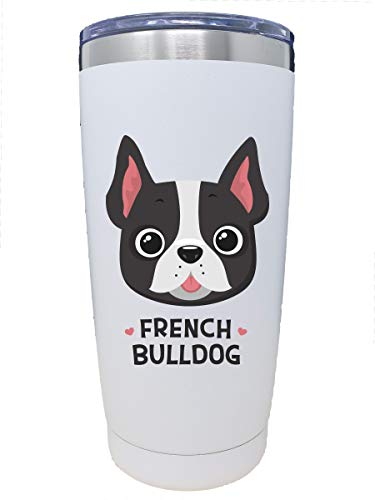 Dog Stainless Steel Tumbler With Lid - 20 oz. Insulated Travel Cup - Perfect Christmas, Thank You, Birthday, Gifts for Dog Mom, Animal Lovers, or Rescue Owner (French Bulldog)