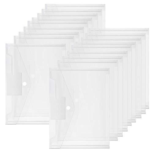 AODOOR 16 carpetas transparentes para documentos A4, con botón de presión, A4, organización para la cartera, bolsillo transparente, cierre de velcro