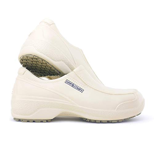 GRIP&COMFY Composite Toe Safety Shoes for Women - Waterproof - Slip-Resistant (Beige, Numeric_8)